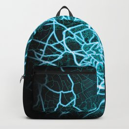 Ghent, Belgium, Blue, White, Neon, Glow, City, Map Backpack