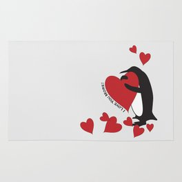 Penguin and Red Hearts - I Love You More! Rug