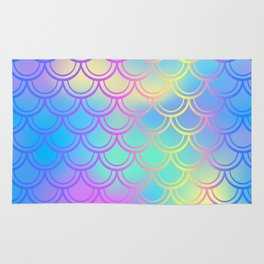 Blue Yellow Mermaid Tail Abstraction Rug