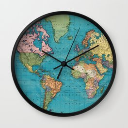Vintage Map of The World (1897) Wall Clock