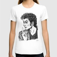 "david tennant T-shirts featuring The Doctor - David Tennant - ""Fingers on Lips!"" by ieIndigoEast"