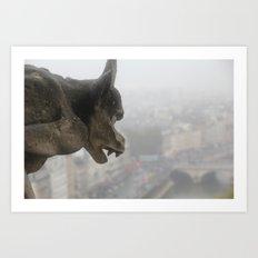 Gargoyle Over Paris Art Print