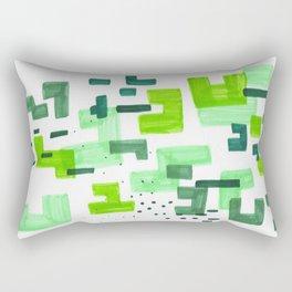 Colorful Green Minimalist Abstract Mid Century Modern Pattern Geometric Fun Art Rectangular Pillow