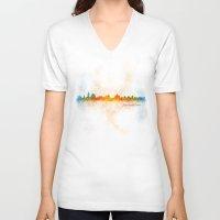 islam V-neck T-shirts featuring Jerusalem City Skyline Hq v4 by HQPhoto