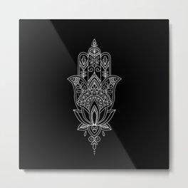 Beautiful Fatima Hand - The Hamsa, sharp, white graphic on black Metal Print