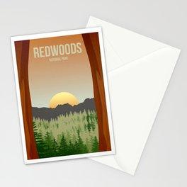 Redwoods National Park - Travel Poster -  Minimalist Art Print Stationery Cards