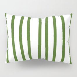 Simply Drawn Vertical Stripes in Jungle Green Pillow Sham