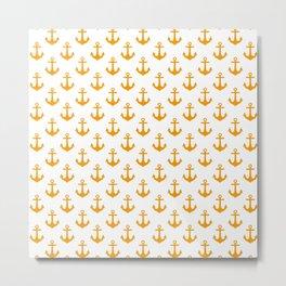Anchors (Orange & White Pattern) Metal Print