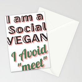 I am a social vegan I avoid meet (ver 3) Stationery Cards