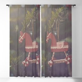 Red horse ornament in a Christmas tree Blackout Curtain