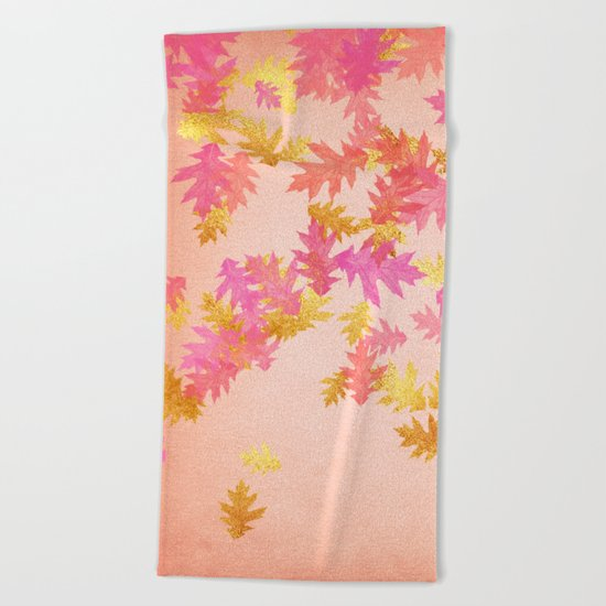 Autumn-world 1 - gold glitter leaves on pink backround Beach Towel