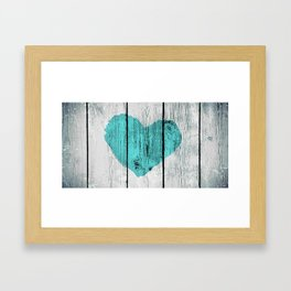 Teal Rustic Heart on Country Wood Framed Art Print