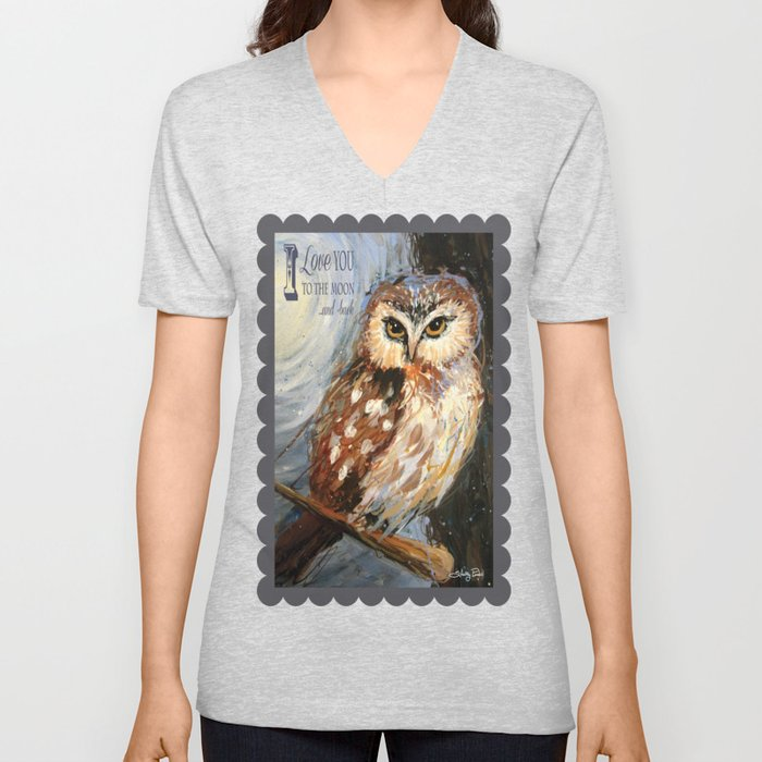 71e3050f54 I Love You To The Moon And Back Owl Unisex V-Neck by ...