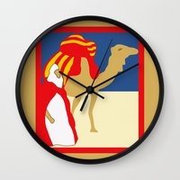 casablanca Wall Clocks featuring Vintage style 1920s Casablanca travel advertising by aapshop