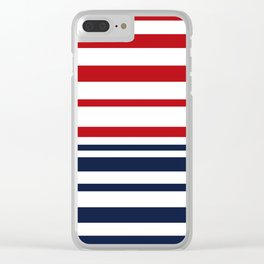 Striped blue-red Clear iPhone Case
