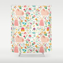 Modern girly pink green hand painted Easter rabbit floral Shower Curtain