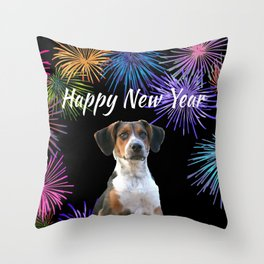 Jack Russell Dog - Happy New Year Fireworks Throw Pillow