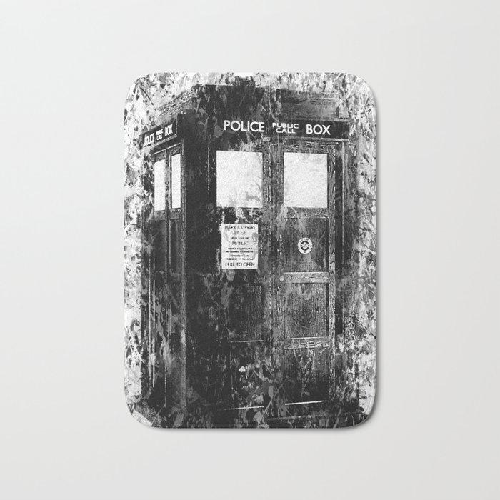 TARDIS (BLACK & WHITE VERSION) Bath Mat