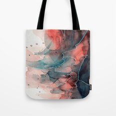 Watercolor dark green & red, abstract texture Tote Bag