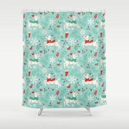 Merry Woodland Reindeer (Light Blue) Shower Curtain