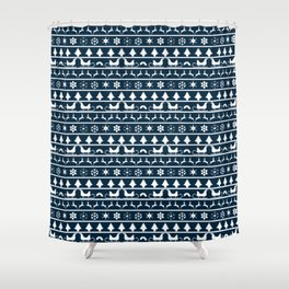 Midnight Blue & White Christmas Sweater Knit Pattern Shower Curtain
