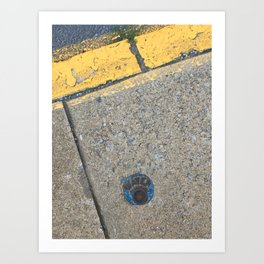 Blue Water Yellow Line Art Print