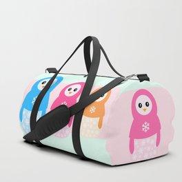Winter matrioshka candy penguins Duffle Bag