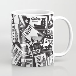 Retro Postcards // black and white Coffee Mug