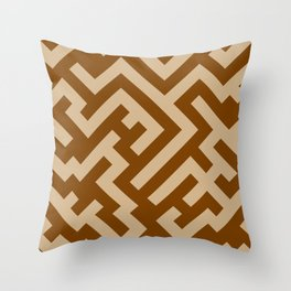 Tan Brown and Chocolate Brown Diagonal Labyrinth Throw Pillow