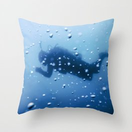 Scuba Diver Swimming on a Blue Water Air Bubbles Throw Pillow