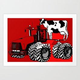 stolen tractor and cow Art Print