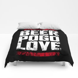 Beer, pogo & love Comforters