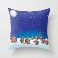 Hedgehog's Christmas magic Throw Pillow