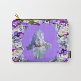 SPRING LILAC PURPLE PANSY FLOWERS & WHITE IRIS PATTERN Carry-All Pouch
