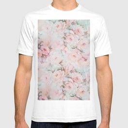 Vintage romantic blush pink teal bohemian roses floral T-shirt