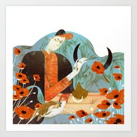 taurus Art Prints featuring Taurus by Leonard Peng