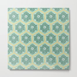 Old World Hand Painted Tile Pattern Metal Print