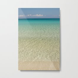 Crystal clear turquoise shaded waters of a sandy beach Metal Print