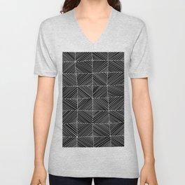 Black Diagonals Pattern Unisex V-Neck