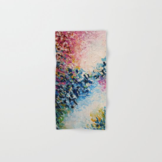 PARADISE DREAMING Colorful Pastel Abstract Art Painting Textural Pink Blue Tropical Brushstrokes Hand & Bath Towel