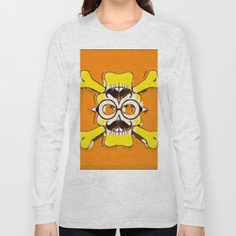 yellow old vintage skull and bone graffiti drawing with orange background Long Sleeve T-shirt