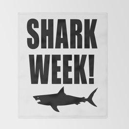 Shark week (on white) Throw Blanket