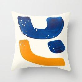 Minimalist Abstract Mid Century Modern Blue Yellow Shapes Fun Scandinavian Style Throw Pillow