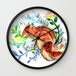 Cute Korea squirrel in sping flowers Wall Clock