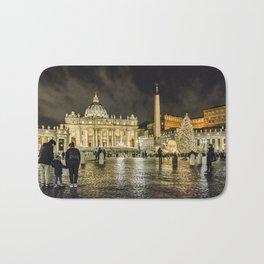 Saint Peters Basilica Winter Night Scene, Rome, Italy Bath Mat