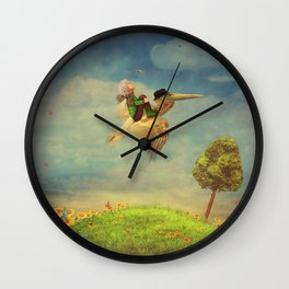 The little boy and brown pelican  in the sky Wall Clock