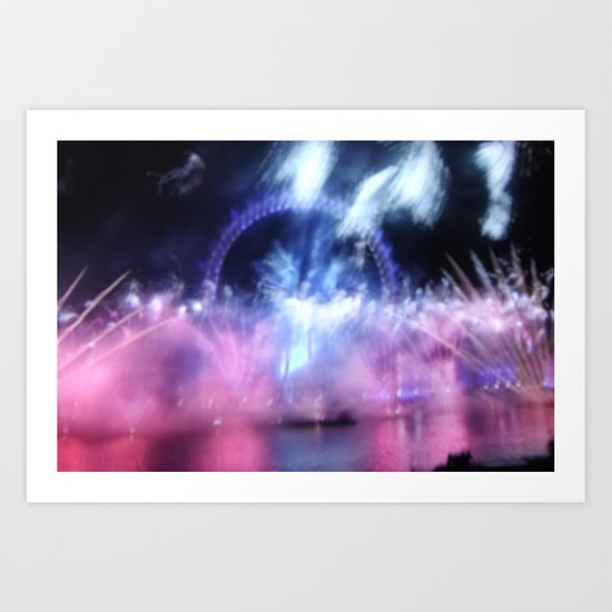 New Year's Eve at London Eye Art Print