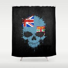 Flag of Fiji on a Chaotic Splatter Skull Shower Curtain