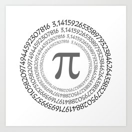 The Pi symbol mathematical constant irrational number on circle, greek letter, background Art Print
