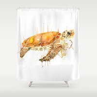 sea turtle Shower Curtains featuring Sea Turtle  by Meg Ashford